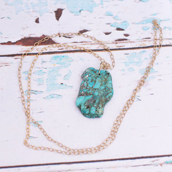 Raw Turquoise Pendant Necklace