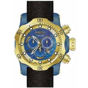 Invicta 15998 Men's Venom Chronograph Gold Tone Bezel Blue Titanium Dial Dive Watch
