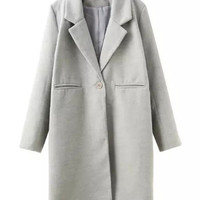 Gray Lapel Notched Collar Long Sleeve Wool Coat