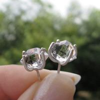 Herkimer Diamond Earrings in Silver with Character