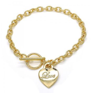 Gold Layered 03.63.1826.10 Charm Anklet , Heart and Love Design, Polished Finish, Golden Tone