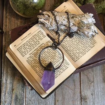 Large Crystal Necklace Amethyst Pendant  Amethyst Wand Necklace Gypsy Jewelry Purple Necklace   Electroformed Crystal Necklace