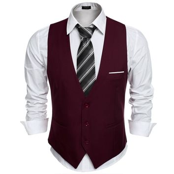 COOFANDY US size Dress Vests For Men Suit Vest Male Waistcoat Gilet Homme Casual Sleeveless Formal Business Jacket Waistcoat