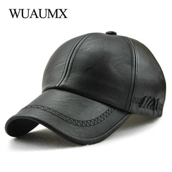 Trendy Winter Jacket Wuaumx Branded High Quality Fall Winter PU Leather Baseball Cap For Men Women Dad Hat Bone Snapback Solid Hip Hop Cap Adjustable AT_92_12