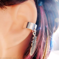 Silver Feather Dangle Cartilage Ear Cuff