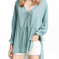 Blue V-neck Tie Front Long Ruffled Sleeve Chiffon Blouse