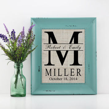 Personalized Monogram Burlap Print Wedding Gift, Housewarming Gift, Anniversary Gift, Bridal Shower Gift