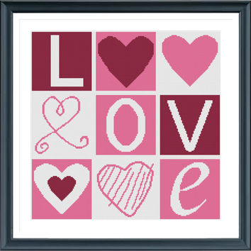 Love JX8341 Cross Stitch, Pillow Cross Stitch, Pillow Pattern, Needlepoint, Hearts Cross Stitch, Cross Stitch from AprilBeeShop on Etsy