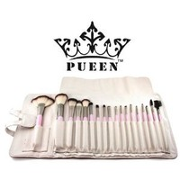 PUEEN Premium Quality 18 Piece Makeup Brush Set in Cream Leather Case - Synthetic Hair-BH000003