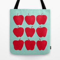 9 Apples (Pale Turquoise) Tote Bag by Jacqueline Maldonado