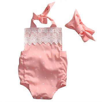 Cute Newborn Baby Girl Romper 2017 Summer Pink Infant Bebes Lace Floral Cotton Halter Romper Handband 2pcs Sweety Baby Clothes
