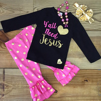 """Yall Need Jesus"" Gold Polka Dot Outfit"