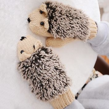 Womans Winter Warm Cartoon Hedgehog Gloves Women Cute Knit Out door Female Cotton White Mitten Guantes Mujer Luvas Feminina luva