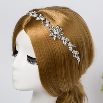 Bridal Rhinestone Crystal Hair Vine Tiara Crown Wedding Comb Hair Chain Headpiece Floral Headband  Hair Ornaments for Women