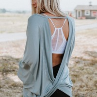 Head In The Clouds Open Back Sweater - Blue Gray