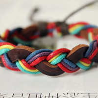 Fashion Cotton rope Wrap and Multilayer Weaved Leather Bracelet W-17