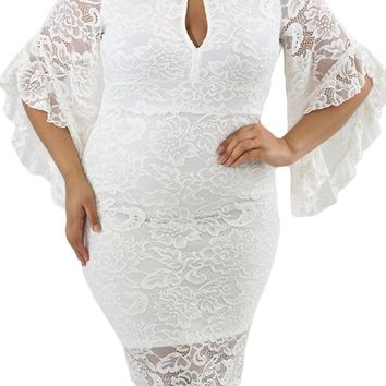 White Lace Flare Bells Bodycon Plus Size Dress