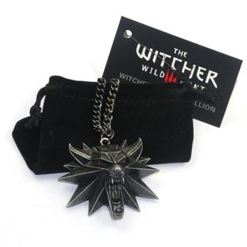 New Wizard the witcher 3 wild hunt medallion pendant necklace witcher 3 necklace for witcher 3 Figure Game with wolf head charms