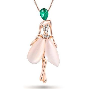 Angel Fairy necklace opal pendant figure cat eye crystal chain new zinc alloy girl women fashion jewelry accessories