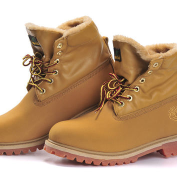 """Timberland"" Fashion Classic With Fur Upper Leather Wheat yellow"