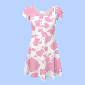 cow print skater dress XS - 5XL (more colors available!) | plus size pastel 90s neogal gyaru grunge kawaii harajuku hipster kitschy milk