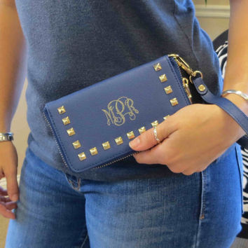 Monogrammed Clutch Wallet with strap - iphone wallet - smart phone case-(MS160)