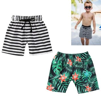 Cool Kids Baby Boys Floral Stripes Print Shorts Casual Beach Pants Sport Bottoms Summer Short  1-6T