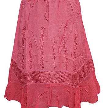 Women's Skirt Net Sexy Pink Embroidered Rayon Bohemian Skirts M