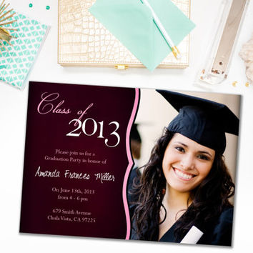 Graduation Party Invitations / Pink Red and White / Photo Invite for Graduate / Class of 2015 / Class of 2016 / Digital or Printed Cards