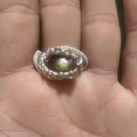 """SIZE 11 Multi Gemstone Gold Silver Wire Wrapped Ring """"Fire N Shine"""""""