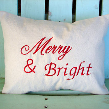 12x16  Merry & Bright embroidered Christmas pillow- holiday gift-decorative cover-gifts under 30-throw pillow-accent pillow
