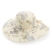 Junior Women's David & Young Floral Print Floppy Straw Hat