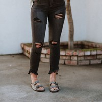 Tegan Angled Hem Distressed Jeans - Black
