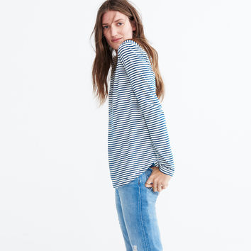 Whisper Cotton Long-Sleeve Crewneck Tee in Hardy Stripe : shopmadewell AllProducts | Madewell