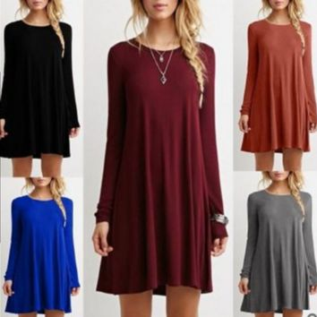 Fashion Womens Long Sleeve Solid Color Dress