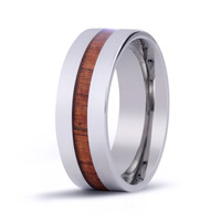 The Modern Koa Wood Inlay Titanium Ring