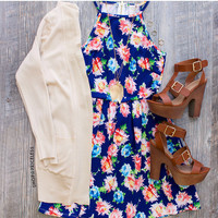 Penelope Floral Dress - Navy