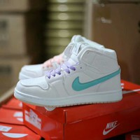 """Air Jordan 1"" Women Casual Fashion Multicolor Mandarin Duck High Help Plate Shoes Sneakers"