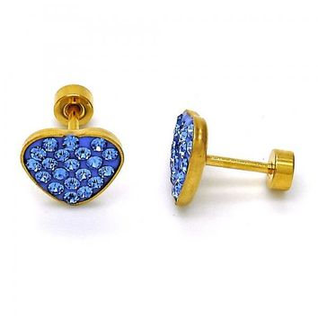 Stainless Steel Stud Earring, Heart Design, with Crystal, Golden Tone