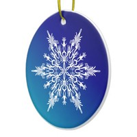 Snowflake on Blue Ceramic Ornament