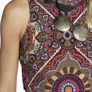 Sky Paisley Print High Neck Sleeveless Crop