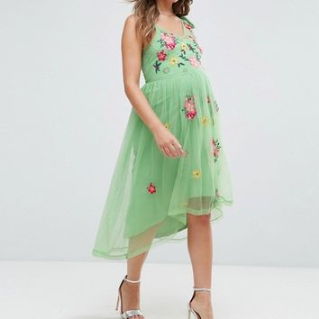 ASOS Maternity Embroidered Mesh Dress at asos.com