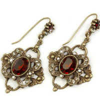 Jewelry by Sweet Romance Laurelle Garnet Earrings - Unique Vintage - Prom dresses, retro dresses, retro swimsuits.