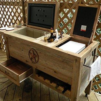 Outdoor Patio Cooler Bar - Wooden Rustic Kitchen Furniture - Grilling Prep Station on Roller Wheels - Wine Storage, Beer Bottle Opener, Towel Rack, Cutting Board Accessories - Handmade Eclectic Decor