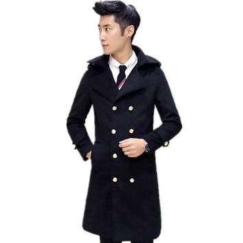 2016 new autumn and winter style dress men's fashion slim medium and long of woolen coat jacket overcoat size M L XL XXL 3XL