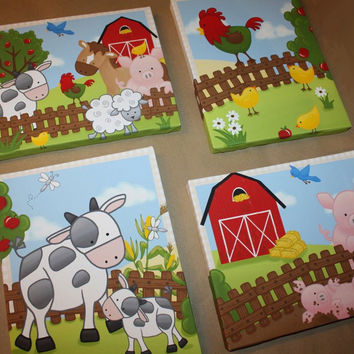 Set of 4 Farm Animal Kids Bedroom Stretched Canvases Kids Playroom Baby Nursery CANVAS Bedroom Wall Art 4CS016