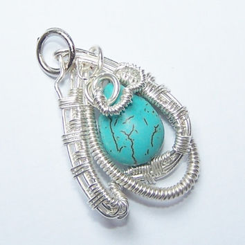 Free Form Wrapped Pendant, Wire Wrapped Pendant, Howlite Wrapped , OOAK Pendant, Stone Setting