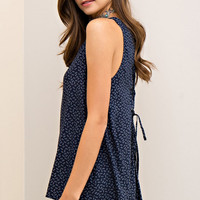 Lace Up Back Navy Print Tank