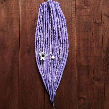 10 DE Dreadlocks, Pastel purple wool Dreads, ready to ship, bohemian hair wraps, flower hair jewelry, boho weddings