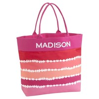 Beach Tote, Warm Tie-Dye Stripe